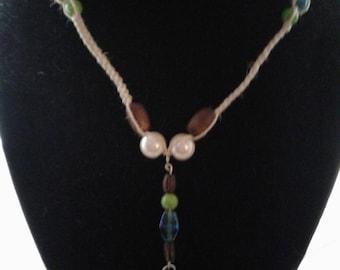 Hemp Macrame Steampunk Beaded Necklace