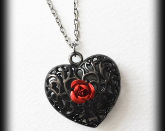 Gothic Heart Necklace, Red Rose, Victorian Pendant, Filigree Metal Pendant, Romantic Jewelry, Valentine Gift, Alternative Jewelry, Handmade