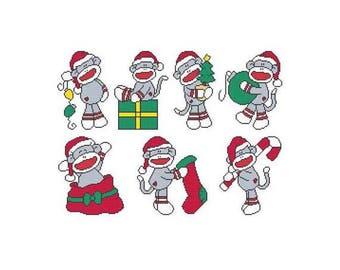Christmas Sock Monkey Combo Counted Cross Stitch PDF Pattern