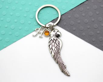 Parrot Personalised Keychain, Parrot Custom Keyring, Personalized Birthstone & Initial, Letter, Alphabet Gift