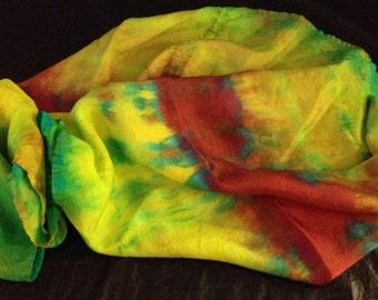 Tie Dye Silk Habotai  Infinity Scarf LARGE Sale