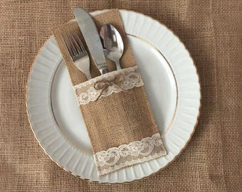 10 burlap and ivory color lace silverware holders - wedding table decor, bridal shower.