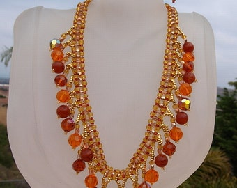 Beaded Drop Necklace in Orange and Gold
