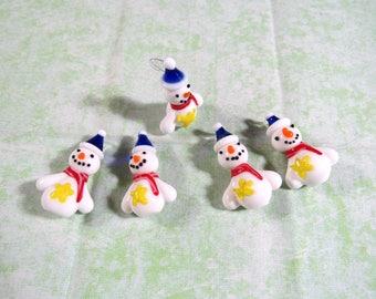 5 Handmade Lampwork Glass Snowman Pendants (B415n)