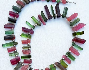 Amazing multi --tourmaline rocks , sticks , rough ,,7 mm - 13 mm , 10 inch strand approx ( sr no , 2320 )