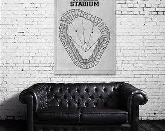 Yankee stadium etsy vintage print of yankee stadium seating chart new york yankees baseball blueprint on photo paper malvernweather Image collections