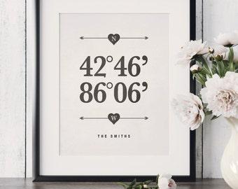 Personalized Housewarming Gift First Home Gift Custom Latitude Longitude Print Personalized Wedding Gift Gift For Couple Custom Wall Decor