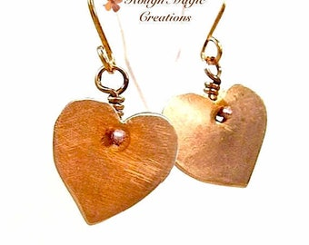 Romantic Heart Earrings, Solid Copper Jewelry for Women, 7th Anniversary Gift, Present for Wife, Boho Gift for Her, Hand Forged Metal