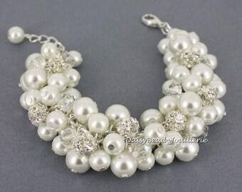 White Cluster Bracelet Pearl Bracelet Bridal Jewelry Chunky Bracelet Bridesmaid Bracelet Bridesmaid Gift for Her Wedding Bracelet for Bride