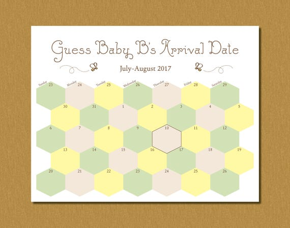 Printable Guess Babys Arrival Due Date Calendar