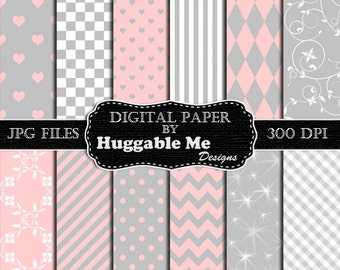 Pink & Gray Scrapbook Paper - Instant Download Gray and Pink Pattern Paper for Wedding, Scrapbook, Backgrounds, Cards 12x12 - HMD00100