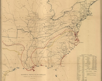 Poster, Many Sizes Available; Civil War Map Historical Sketch Of Rebellion 1864