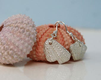 Pure silver mismatched sea urchin shard earrings