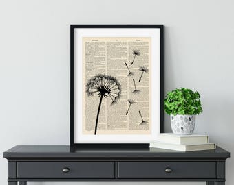 Dandelion Seed head 1 - Vintage Book Page Art Print, Dictionary Page Art Print, Wall Art, Antique Book Page Art Print