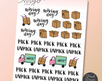 Moving Day Hand Drawn Planner Stickers, Packing, Moving Boxes, Moving Van  - Hand Drawn Doodle Planner Stickers - Matte, Glossy RM1