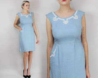 50s Beaded Wiggle Dress, Baby Blue, Size Medium Small Cocktail Party Dress, Holiday, Pastel, 1960s, Sleeveless, Floral, Pocket, Metal Zipper