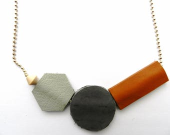 Geomteric Necklace| Leather Necklace| Abstract Necklace| Long Chain| Leather Chain