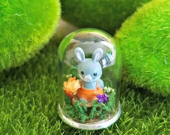 Enchanted Rabbit Woodland Miniature Terrarium Keepsake Gift Or Necklace