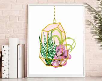 Terrarium Succulent Print, Pink and Green Gift For Her, Sacred Geometry Watercolor Plants Botanical Print, Cactus Nursery, Himmeli