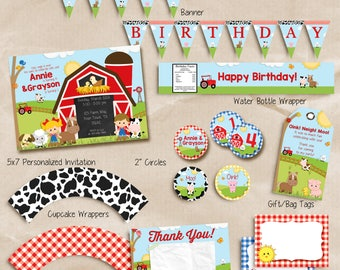 FARM BIRTHDAY Invitation, Farm Birthday Party Package, Farm party decorations, siblings, friends, cousins