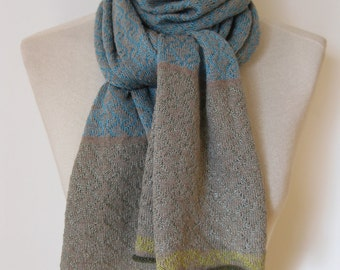 Handmade cashmere scarf/ knitted cashmere scarf/ patterned scarf/ womans/ turquoise scarf with jade+lime edges