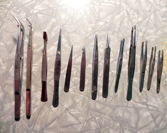 13 pairs tweezers, stamp collecting, model making, surgical, watch repair