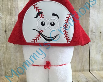"Baseball Applique Hooded Bath, Beach Towel, Swim Cover Up 30"" x 54"" Custom Colors!! Personalization Available"