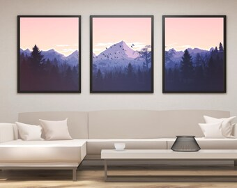 Landscape Print Set, Mountain Print, Panel Art, Panel Wall Art, Mountain Art