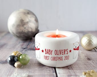 Personalised 'Baby's First Christmas' Candle Holder - Polar Bear Or Penguin Tea Light Holder - Baby's First Christmas Candle -