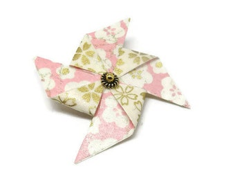 Wind mill Origami brooch
