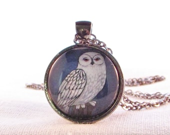 Snowy Owl - Necklace - Woodland - Forest - Wearable Art - Bird Necklace - Owl Pendant - Gift for Her - Gift for Teacher - Spirit Animal