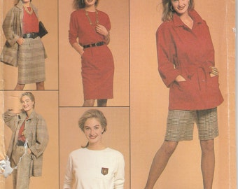 Simplicity 8874 Misses' Pants, Walking Shorts, Skirt, Top, and Unlined Jacket
