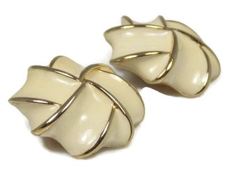 Chunky Cream Enamel Swirl Earrings