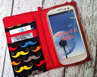 Samsung Galaxy wallet, Galaxy case - Mustache print with removable gel case