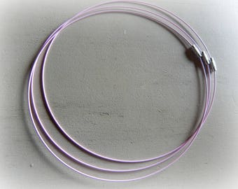 3 twist pink lacquered screw clasp steel wire