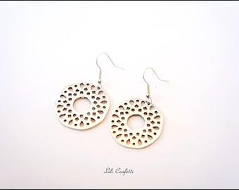 Silver filigree earrings silver metal rosettes