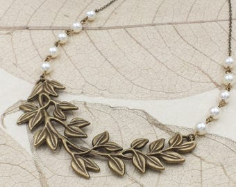 Large Leaf Branch Necklace, Antiqued Brass Leaf Swarovski Pearl Necklace, Rustic Woodland Nature Statement Jewelry, Wedding Gift for Her
