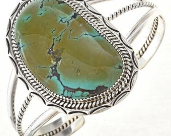 Navajo Battle Mountain Turquoise Cuff Handmade Silver Bracelet