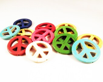 """HW02 - Set of 3 large charm pendant connector, Howlite Turquoise peace sign """"Peace and Love"""" mixed colors"""
