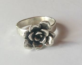 Silver Flower Ring Size 9.5, Stering Silver Succulent Ring, Sedum Ring, Succulent Jewelry, Cactus Flower Statement Ring, Gardening Gift