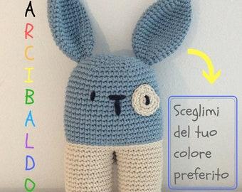 Crazyboy the perfect bunny! Snowman, crochet, custom, amigurumi, crochet, soft toy, Doudou, children, toy