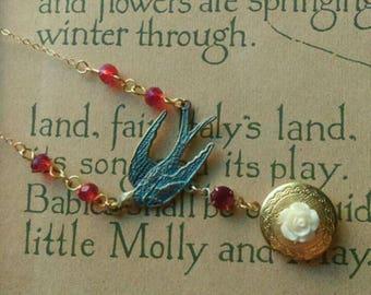 Blue Patina Bird and Locket Necklace