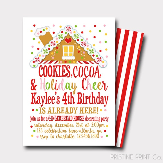 Gingerbread birthday invitation christmas birthday like this item filmwisefo Images