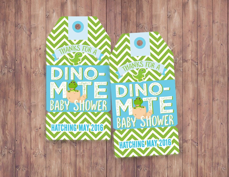 Favor tagsDinosaur baby shower invitation dino baby chevron