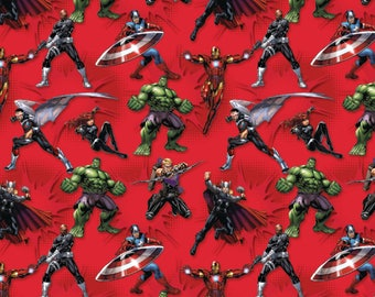IN STOCK New Marvel Avengers Action on Red Characters - Hulk, Captain America, Iron Man, Black Widow 100% cotton fabric  SC394