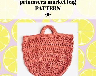 Crochet Pattern, PRIMAVERA Market Bag