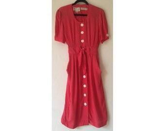 Polka Dot Dress/ Rayon Dress/ Karin Stevens/ Button Up Dress/ Pin Up Dress