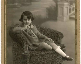 Adorable 1920s ORIGINAL ATQ Art Nouveau Spanish Signed Cabinet Card Photo / Cutest Girl on Sofa Mary Jane Shoes / by Alcocer, Madrid (SPAIN)