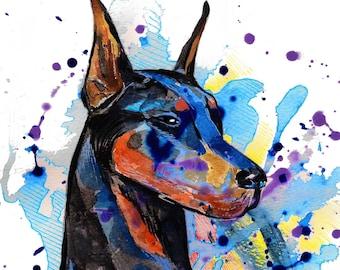 DOBERMAN PINSCHER  Art Print  Fine Art Print - Modern Art Print - dog print - dog art print - Pet Lover