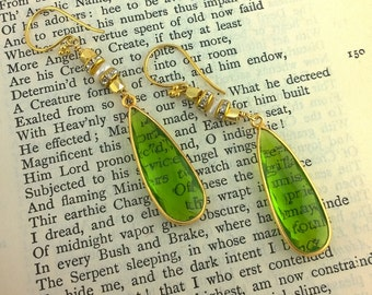 Elegant Bling V: Elongated Peridot Teardrops with Pearl and Crystal Rhinestone Earrings